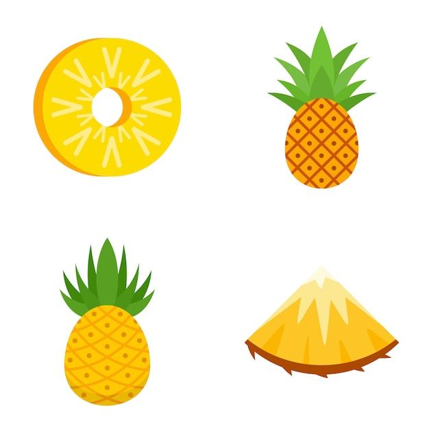 Set di icone di ananas Vettore Premium