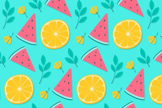 Ananas e arancio motivo di sfondo estivo Vettore Premium