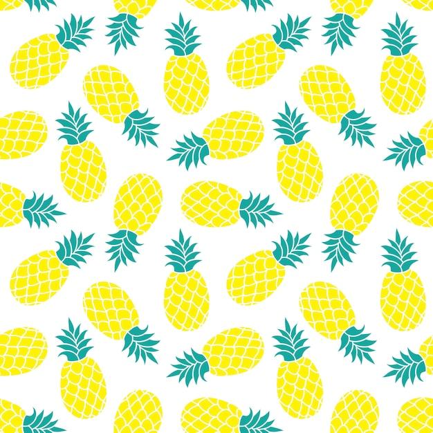 Reticolo senza giunte di ananas stampa tessile tropicale colorata estiva. Vettore Premium