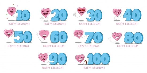 Set di caratteri e numeri di palloncini rosa Vettore Premium