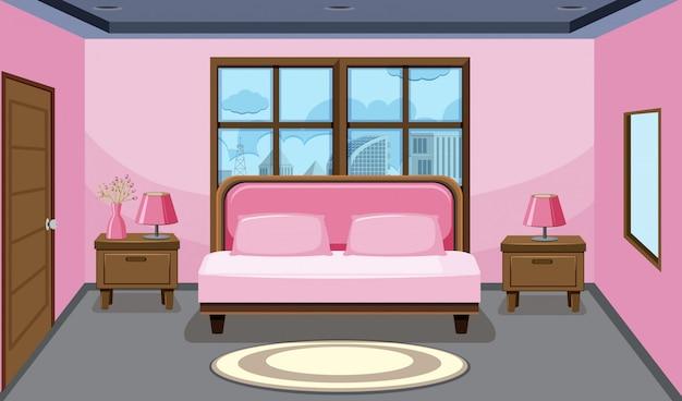 Interior design camera da letto rosa Vettore Premium