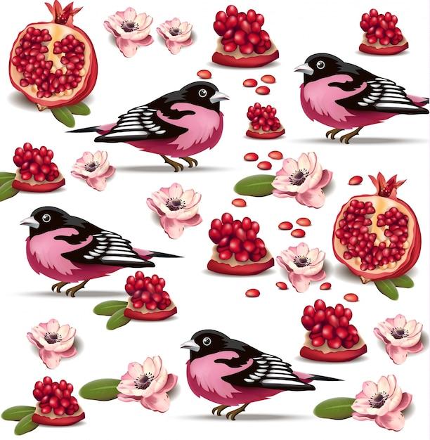 Reticolo di frutta di uccello rosa e melograno Vettore Premium