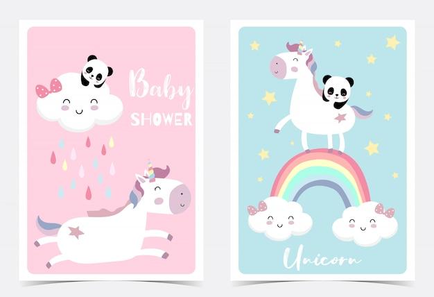 Cartolina disegnata a mano blu rosa Vettore Premium