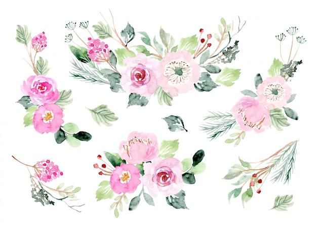 Raccolta dell'acquerello rosa composizione floreale Vettore Premium