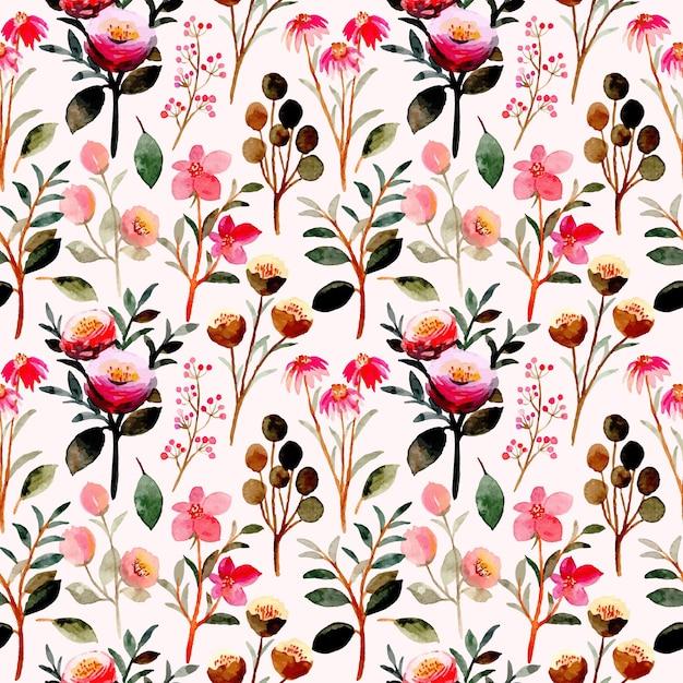 Modello senza cuciture floreale rosa con acquerello Vettore Premium