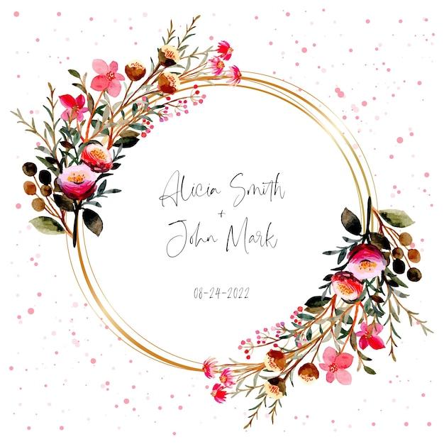 Acquerello di corona floreale rosa con cornice dorata Vettore Premium