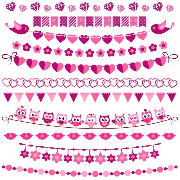 Ghirlanda rosa e bandiere impostate su sfondo bianco Vettore Premium