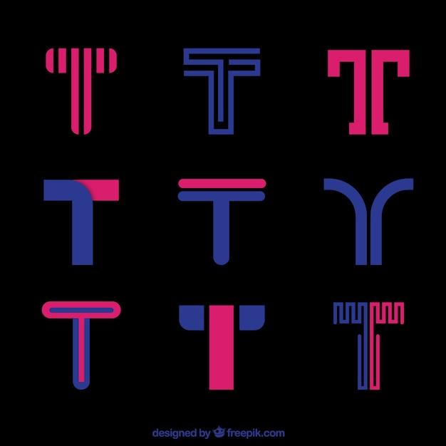 Collezione di template rosa logo t lettera Vettore Premium
