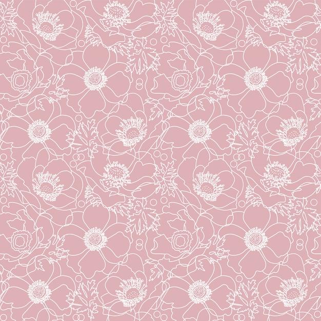 Modello senza cuciture di fiori di papavero rosa con elementi floreali linea bianca disegnata a mano Vettore Premium