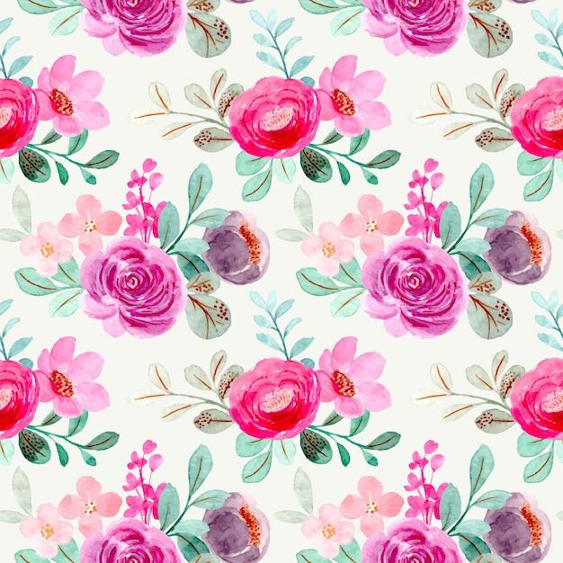 Modello senza cuciture dell'acquerello floreale viola rosa Vettore Premium