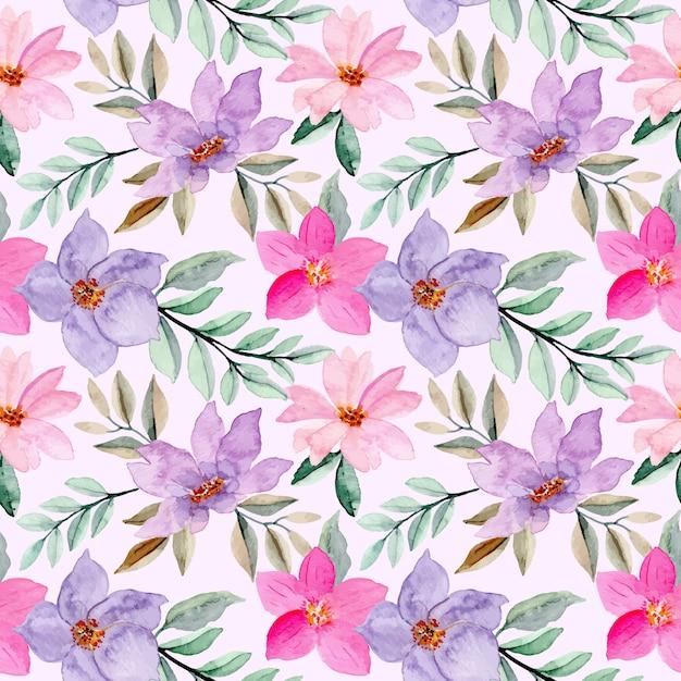 Modello senza cuciture viola rosa con fiore ad acquerello Vettore Premium
