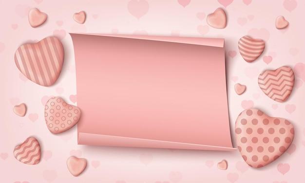 Cuori di caramelle rosa realistici e papper realistico. Vettore Premium