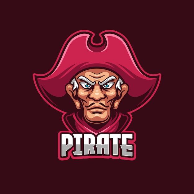 Modello di logo di sport elettronici pirata Vettore Premium
