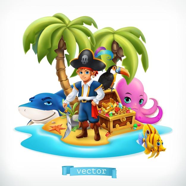 Pirata. ragazzino e animali divertenti. isola tropicale e scrigno del tesoro Vettore Premium