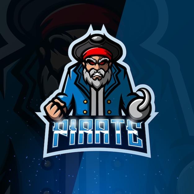 Illustrazione di esport mascotte pirata Vettore Premium