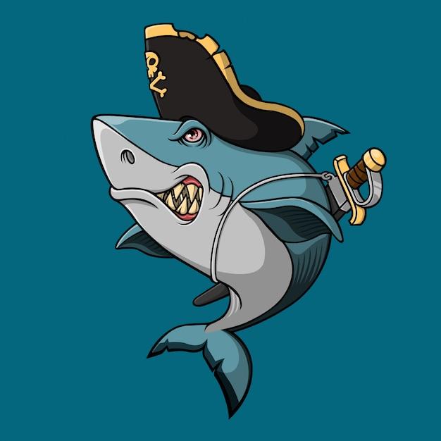 Squalo pirata con spada Vettore Premium