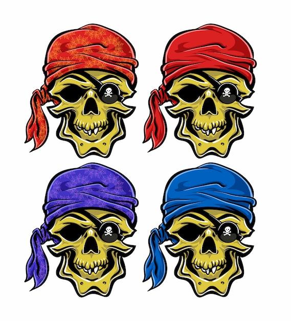 Collezione di teschi pirata Vettore Premium