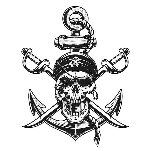 Emblema del teschio pirata con spade, ancora Vettore Premium