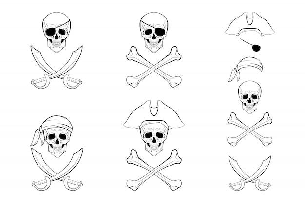 Set teschio pirata. Vettore Premium