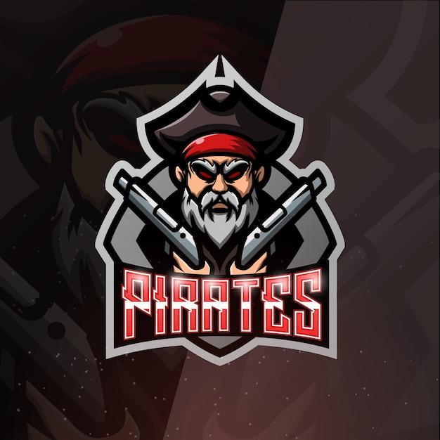 Pirata con illustrazione di esport mascotte di pistole Vettore Premium