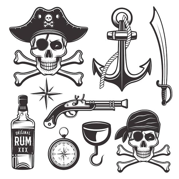 Insieme di attributi di pirati di oggetti ed elementi grafici in stile monocromatico Vettore Premium