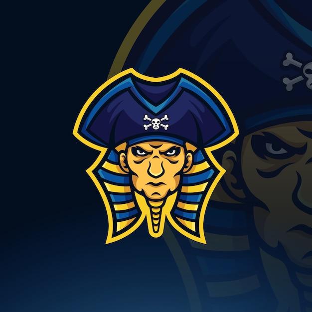 Modello di logo della mascotte di esportatore di pirati faraone Vettore Premium