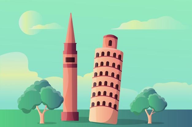 Paesaggio dell'illustrazione della torre di markus e della torre di pisa per le attrazioni turistiche Vettore Premium