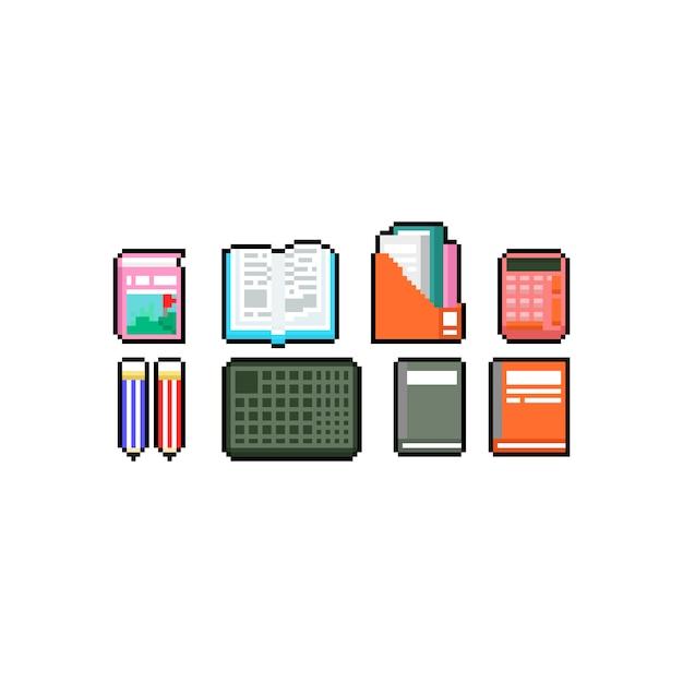 Insieme di progettazione dell'icona del libro d'arte e della cancelleria del pixel. Vettore Premium