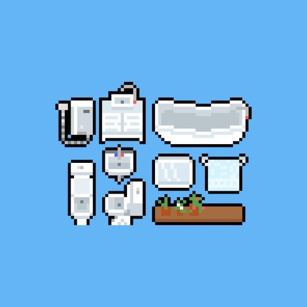 Insieme dell'icona del bagno e della toilette del fumetto di arte del pixel. Vettore Premium