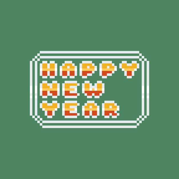 Pixel art felice anno nuovo testo lucido Vettore Premium