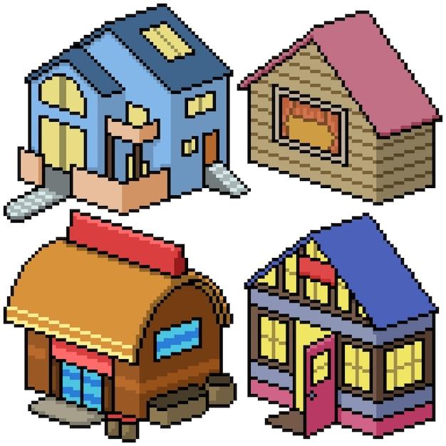 Pixel art set isolato casa accogliente Vettore Premium