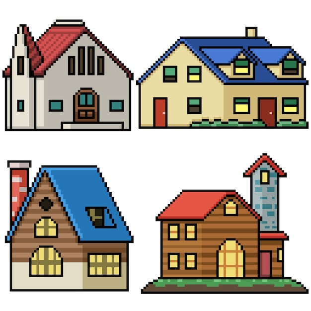 Pixel art set casa di villaggio isolata Vettore Premium