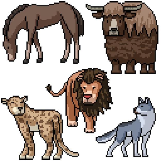 Pixel art set isolato animale selvatico Vettore Premium