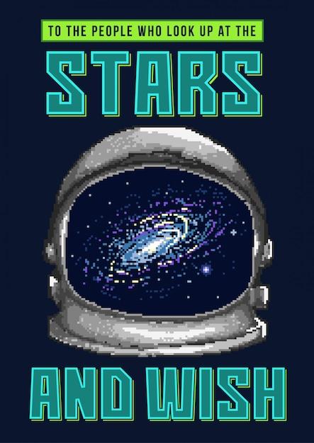 Pixel art illustrazione vettoriale di un casco da astronauta nello spazio con stelle e galassia. Vettore Premium