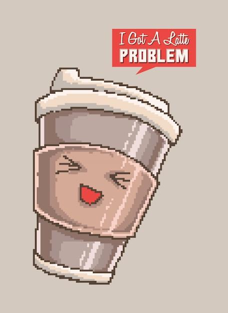 Pixel art illustrazione vettoriale di una tazza carina di carattere latte sorriso con parole divertenti gioco di parole. Vettore Premium