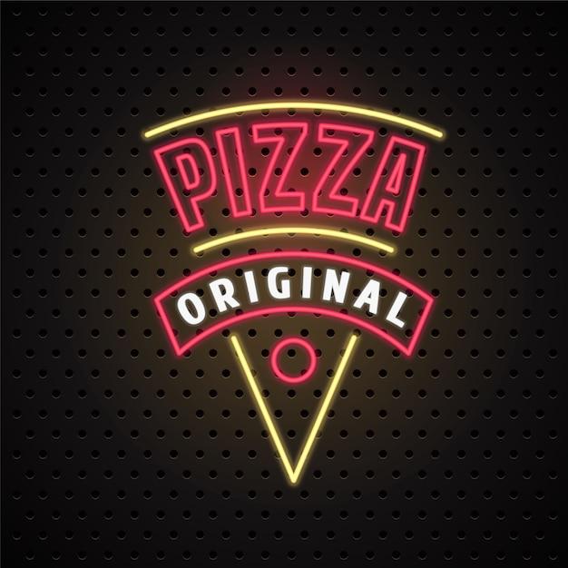 Consegna pizza con insegna al neon Vettore Premium
