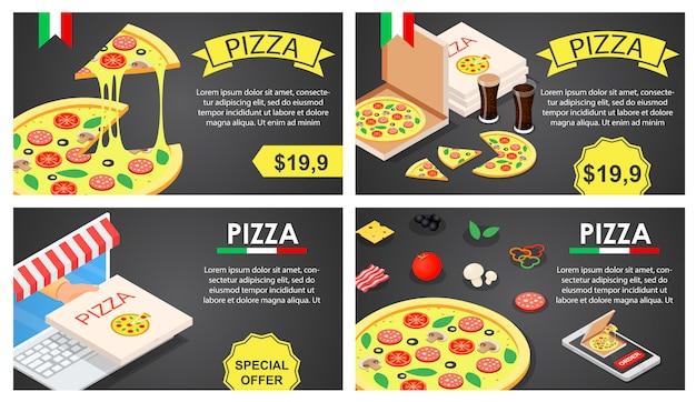 Insieme di concetto dell'insegna di festival della pizza, stile isometrico Vettore Premium