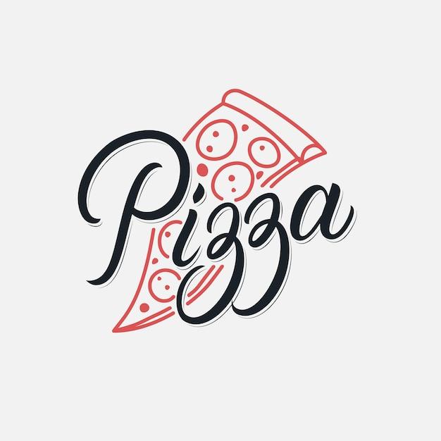 Pizza scritta a mano lettering logo ristorante, pizzeria, caffetteria. stile retrò vintage. calligrafia moderna, tipografia. . Vettore Premium