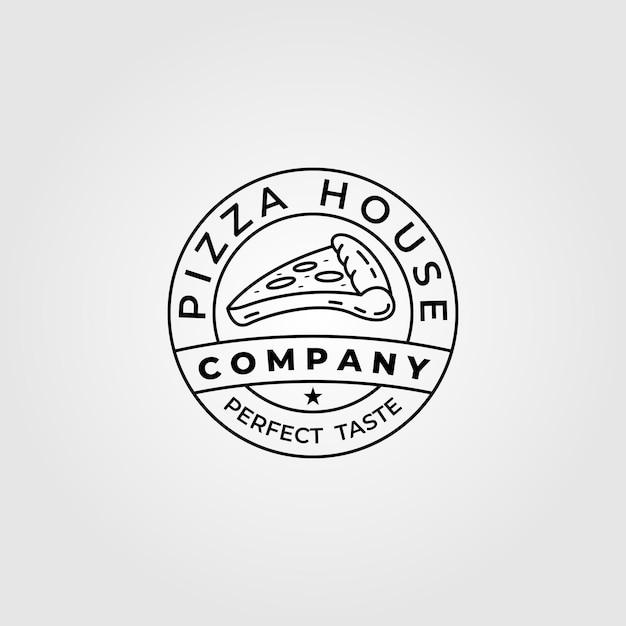 Illustrazione di progettazione di logo di arte di linea di pane di pizza house Vettore Premium