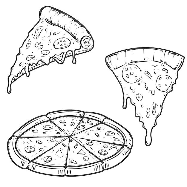 Illustrazioni di pizza su sfondo bianco. elementi per logo, etichetta, emblema, segno, menu. illustrazione. Vettore Premium
