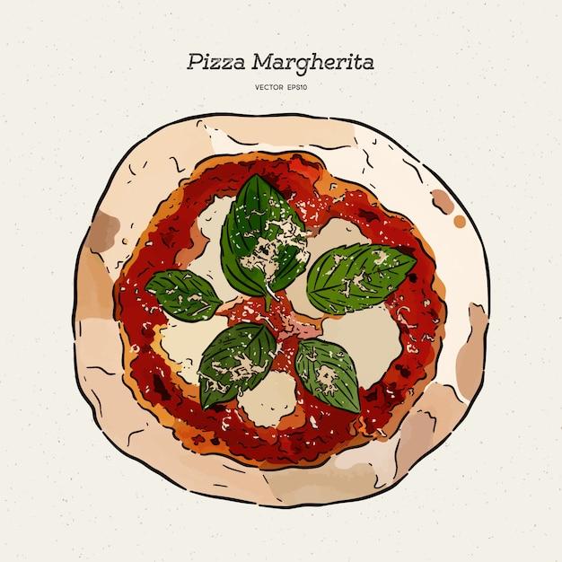 Pizza margherita, schizzo a mano. Vettore Premium