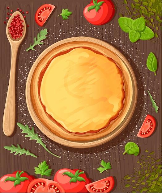 Fondo del fumetto della lavagna del menu della pizza con l'illustrazione degli ingredienti freschi fondo dell'aletta di filatoio della pizzeria. due bandiere orizzontali con testo di ingredienti su fondo in legno e lavagna. Vettore Premium