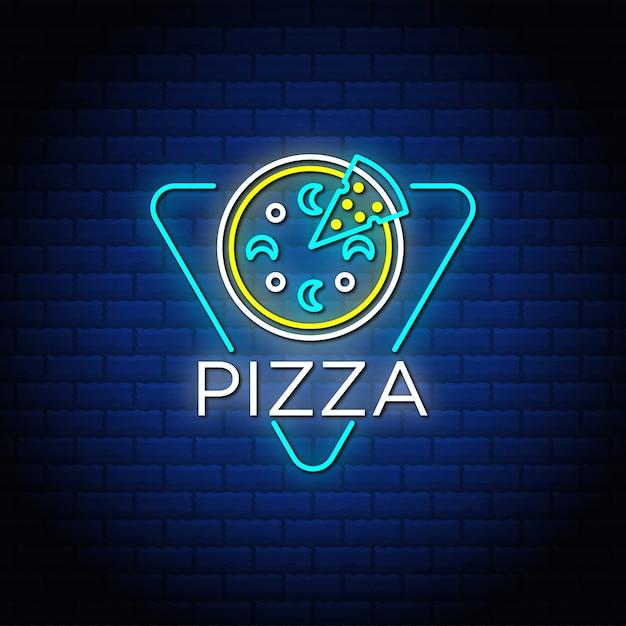 Insegne al neon del testo della pizza con il muro di mattoni astratto blu. Vettore Premium