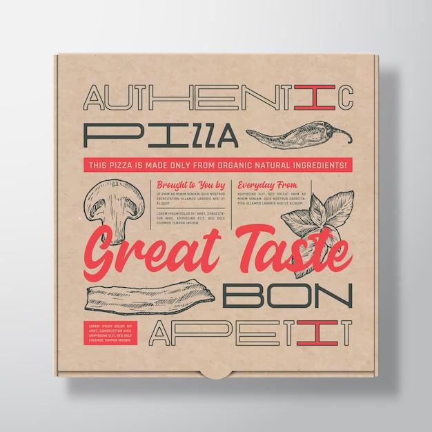 Contenitore di scatola di cartone realistico per pizza Vettore Premium