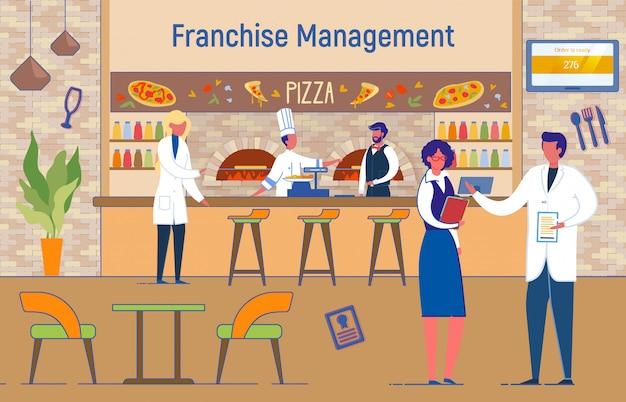 Pizzeria, caffetteria italiana, gestione del franchising. Vettore Premium