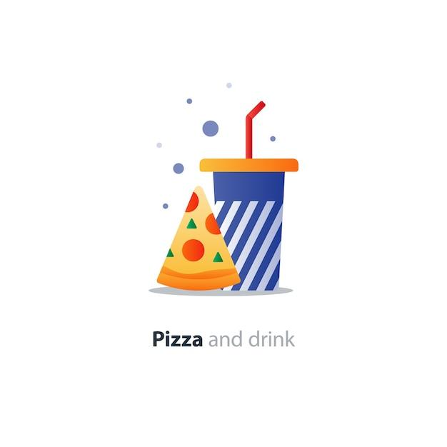 Fetta di pizza e bicchiere blu con strisce, icona del concetto di mangiare e bere, offerta di fast food Vettore Premium