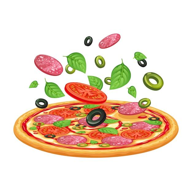 Pizza con peperone, mozzarella e pomodoro. Vettore Premium
