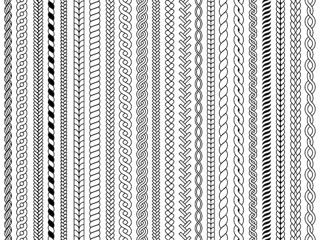 Trecce seamless pattern. trecce ornamentali maglia cavo moda strutture tessili vector seamless pattern. Vettore Premium