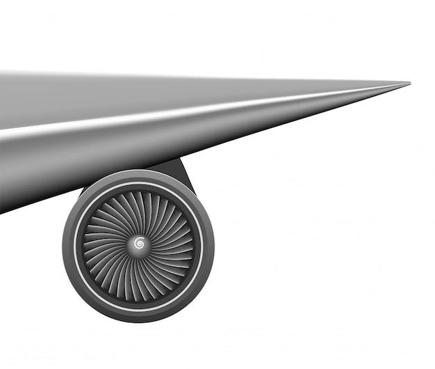 Ala piana con il concetto della turbina del motore Vettore Premium