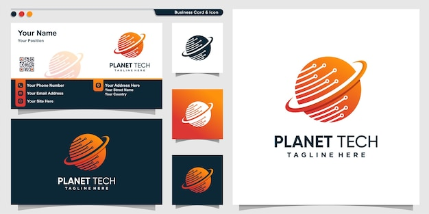 Logo del pianeta con stile di tecnologia sfumata e modello di progettazione di biglietti da visita Vettore Premium